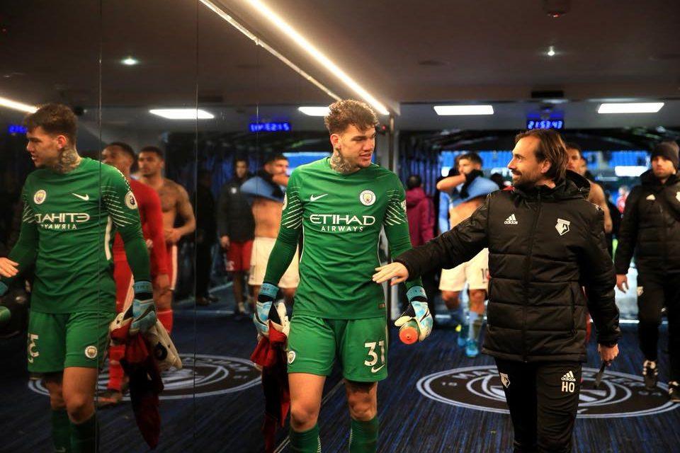 Depois do Benfica, o reencontro foi em Manchester. Ederson com Hugo Oliveira