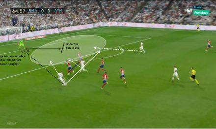(Análise) Apoios orientados, dominar e controlar o espaço – momentos antes do 1×1 no Derby de Madrid. Eis Jan Oblak